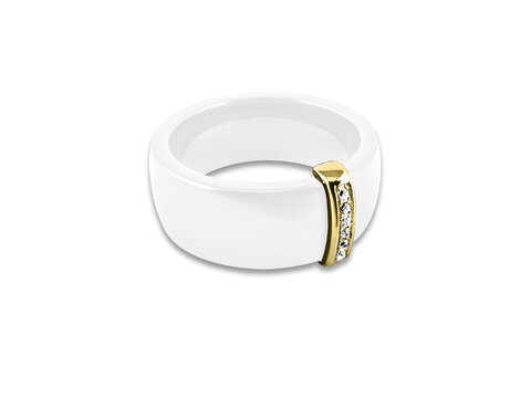 Obrączka CERAMIKA & SREBRO Simple White/Gold